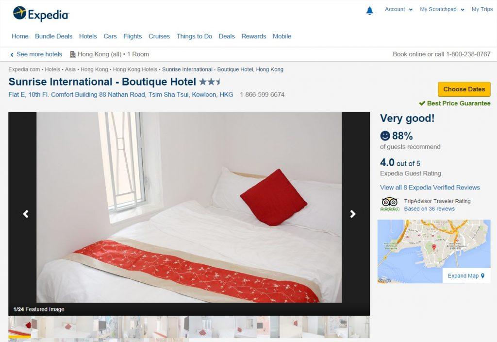 Sunrise International - Boutique Hotel (Kowloon, HKG) Expedia - Google Chrome
